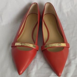 Michael Kors Red Leather Flats, 8.5